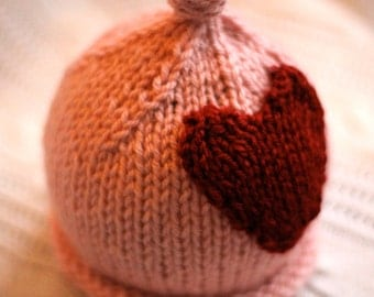 Little knit hat with the big heart.  PINK.  Sizes newborn to big kid available. VALENTINES DAY