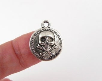 20 Skull and Cross Bones Coin Charms - 18mm x 15mm - single sided