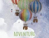 Adventure Awaits, Hot air balloon, nursery art, adventure nursery, baby boy nursery, baby girl nursery, toddler boy wall art, vintage decor