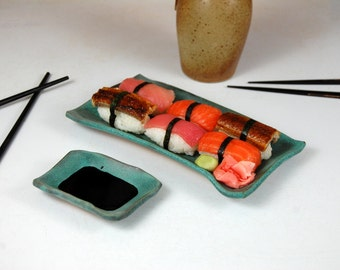 Two Dish Sushi Set in Turquoise - Made to Order