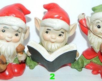 Christmas Elves, Pixie, Gnomes, Elf, Toy Shop Elves, Homco Christmas 1970's Trio, Santa's Christmas Elves, X-Mas Holiday