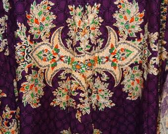 1970's Indonesian Batik Cotton Wrap Skirt Bohemian Hobo Fashion, Java Batik, Javanese, Summertime Fabric, Circa 1970s, Purple Skirt