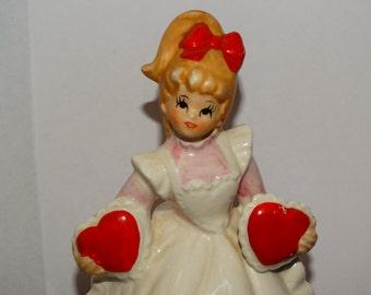 Vintage Lefton 2 Hearts Valentine Day Girl Music Box Figurine 2183, Sweetheart Music Box Figurine, Blonde,Candy Hearts, Valentine Gift