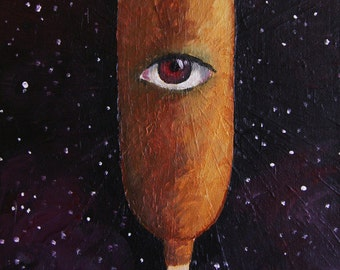 Corndog in Space Postcard Kitsch art corn dog galaxy alien eye eyeball cyclops junk food painting hotdog hot outer space stars print