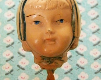 Antique Celluloid Baby Rattle Child's Head with Bonnet Sweet Face