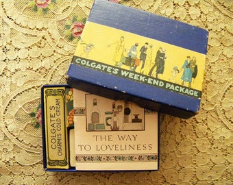 Antique 1920's Unused Colgate's Week-End Package Travel Size Beauty Supplies Flapper Era