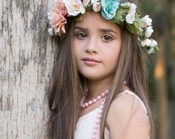 Peach Coral Teal Ivory Floral Crown, Pink Flower Headband, Flower Crown, Wedding Headpiece, Bridesmaid headpiece, flower girl headband halo