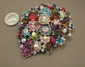 Vintage colorful rhinestone large brooch in multi color leaf design, 4 by 3 inches with silver tone metal, Variety of rhinestone types