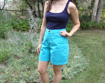 Vintage Turquoise Cotton Twill Shorts S/M
