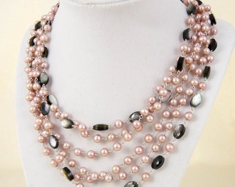 Rose Pearl And Black Mother Of Pearl Statement Necklace