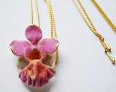 vintage 1980s / orchid flower necklace flower bolo / nature / orchid / brass / gold / signed
