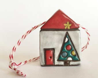 Christmas Tree Ornament Ceramic Ornament House Ornament  ooak