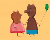 Friends  Original illustration, wall decor, kids room decor, nursery decor, teddy bear