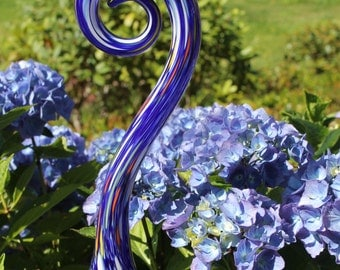 Cobalt Blue Glass Fiddlehead Garden Art Sculpture Outdoor Decoration