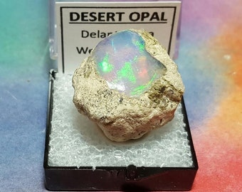 Sale OPAL 7.1 Gram Natural Rainbow Flash Desert Opal Gemstone Mineral Specimen In Perky Display Box From Ethiopia