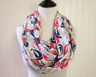 Print - Sailboat Scarf - Nautical Scarf - Nautical Infinity Scarf - Sailor Scarf - Red White Blue Scarf  Extra Long Scarf