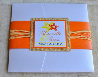 Pocket Fold Wedding Invitation Design Fee (Bright Starfish Design with Japanese Cane Paper and Raffia)