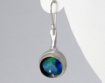 Funky Sterling Silver and chrysoprase Earrings - E2370