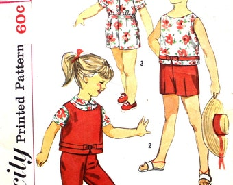 Girl's Top, Blouse and Pants Size 3 Simplicity 3027 1960's Sewing Pattern