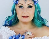 Flower Crown in Silver and Blue, Wedding Headpiece,Wedding Accessory, Wedding Wreath,Floral Crown, Fairy, Renaissance, Costume, Burning Man