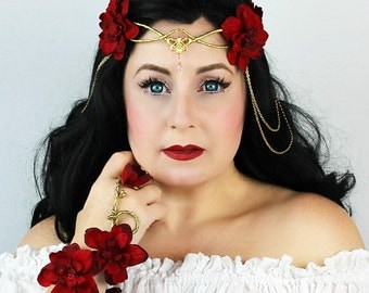 Flower Crown in Gold and Red, Floral Crown, Headpiece, Wedding Headpiece, Wedding Accessory, LOTR, Cosplay, Fairy, Renaissance, Costume