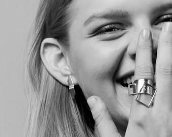 Billy Earrings, Silver Post Earrings, Tiny Silver Stud Earrings, Geometric Silver Earrings, Minimalist Silver Earrings, Long Silver Earrings