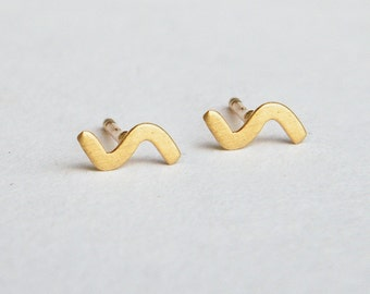 Zigzag earrings, solid 14k gold earrings, 14k gold stud earrings, solid gold stud earrings, geometric gold earrings, minimalist gold earring