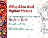 Special Intro Price 『Radiant Soul』 - Digital Stamp Instant Download / Fantasy Butterfly Fairy Girl Art by Ching-Chou Kuik