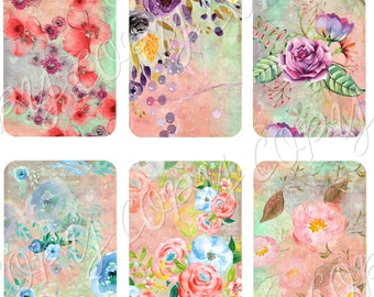 Instant Download  - Watercolor Floral Design - ACEO - Digital Download - Printable  Digital Collage Sheet