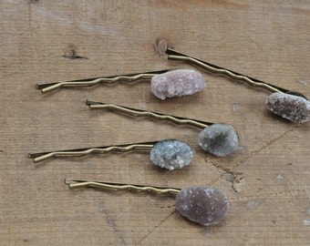 Purple and Grey Blue Druzy Bobby Pins