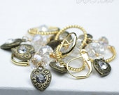 Rhinestone Heart Stitch Marker Set with a Vintage Feel - Knitting Bling