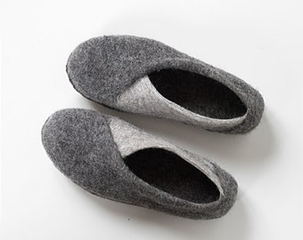 Women's slippers in natural gray wool - BureBure ENVELOPE slippers - felted wool slippers -