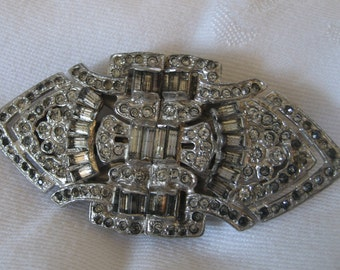 VINTAGE Silver Metal and Rhinestone Art Deco Duette Brooch & Dress Clip Back Costume Jewelry