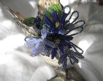 VINTAGE Light & Dark Blue Seed Beaded Flower Bouquet Boutonniere