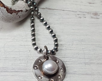 Industrial Pearl Necklace .925 Sterling Silver Freshwater Pearl