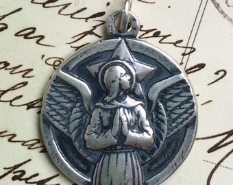 Large Sterling St Michael the Archangel Medal - Heavenly Protector - Antique Reproduction