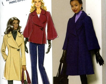 Butterick B5401 Easy Coat Jacket One Button Closure Bell Sleeves Option Size 8 10 12 14 Uncut Sewing Pattern 2009