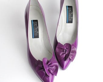 size 7 | Vintage Origami Bow leather Pumps | 1980s Purple Leather Court Shoes | 37.5