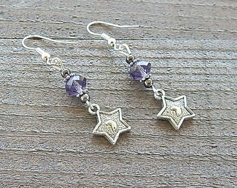Silver Star Earrings Embossed Goddess Crescent Moons Amethyst Purple Colored Crystal Beads Sterling Silver Earwires