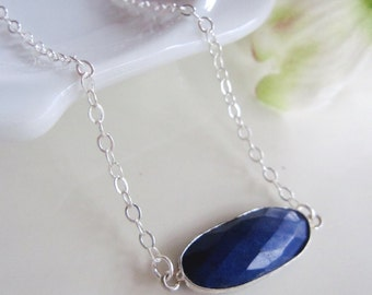 Blue Lapis Necklace, Sterling Silver, Cobalt Blue, Pendant Necklace, Minimalist Jewelry, Gift Necklace, Gardendiva