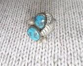Vintage Turquoise Ladies Ring - Sterling Native American