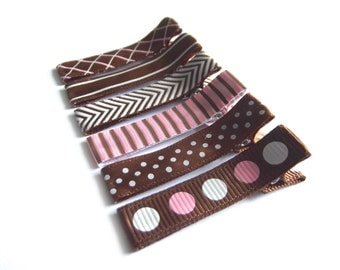 6 Pink and Brown Hair Clips Pink Hair Clips Basic Lined Hair Clips Baby Girl Hair Clips Polka Dot Stripe Chevron Baby Hair Clips Toddler