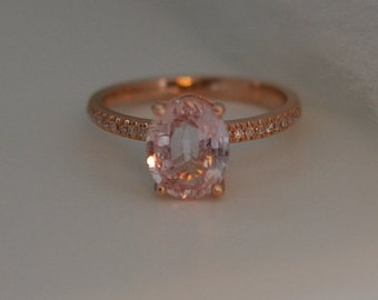 Rose gold engagement ring 2.2ct Peach sapphire diamond ring 14k rose gold oval sapphire no halo ring
