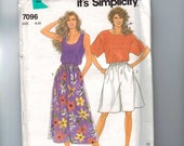 1990s Sewing Pattern Simplicity 7096 Easy Pullover Top and Culottes Short Long Size 8 10 12 14 16 18 20 BUST 31 32 34 36 38 40 42 UNCUT  99