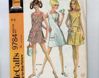 1960s Vintage Dress Pattern McCalls 9784 Misses Dress with Square Neckline in Two Lengths Size 12 Bust 34 1969 60s