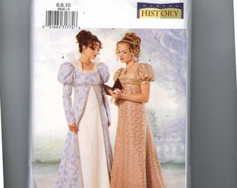 Misses Sewing Pattern Butterick 6630 Making History Regency Jane Austen High Waisted Empire Dress Size 6 8 10 12 UNCUT