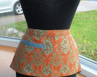 Vendor Apron Server Apron Travel Apron  Zipper Rust Cotton Twill Orange Blue