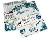 Tea Towel Seattle Green Lake on White Flour Sack 100% Cotton