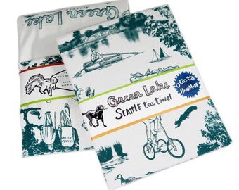 Tea Towel Seattle Green Lake on White Flour Sack 100% Cotton