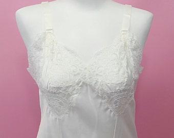 vintage | 50s 60s aristocraft off white full slip lingerie dress 36